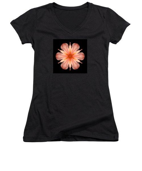 Salmon Daylily I Flower Mandala Women's V-Neck T-Shirt (Junior Cut) by David J Bookbinder