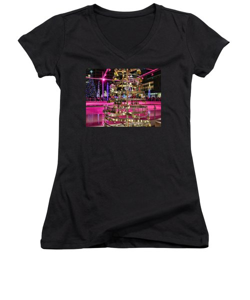 Women's V-Neck T-Shirt (Junior Cut) featuring the photograph Salt Lake City - Skating Rink - 1 by Ely Arsha