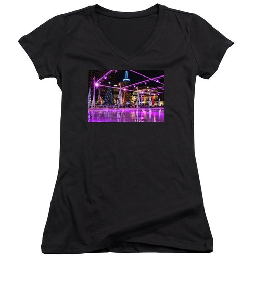 Women's V-Neck T-Shirt (Junior Cut) featuring the photograph Salt Lake City - Skating Rink - 2 by Ely Arsha