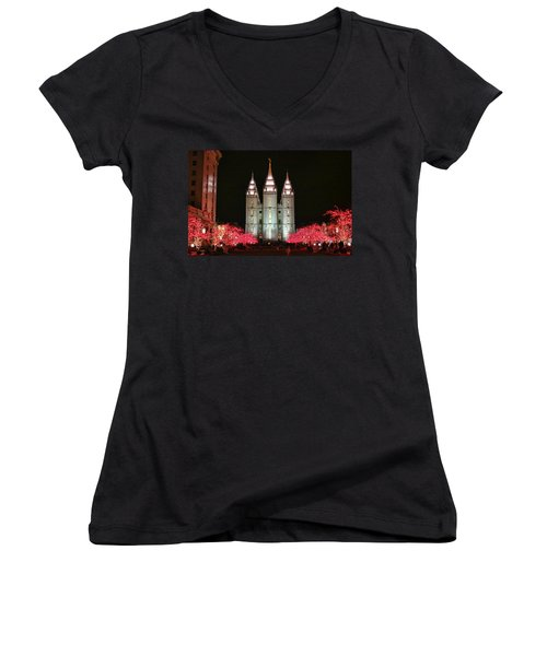 Women's V-Neck T-Shirt (Junior Cut) featuring the photograph Salt Lake Temple - 1 by Ely Arsha