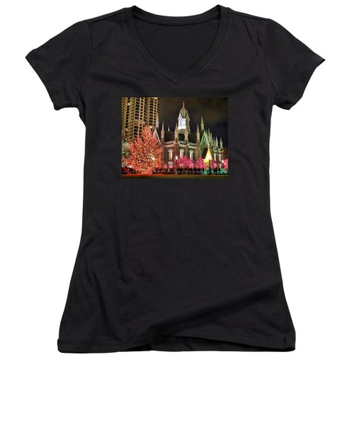 Women's V-Neck T-Shirt (Junior Cut) featuring the photograph Salt Lake Temple - 3 by Ely Arsha