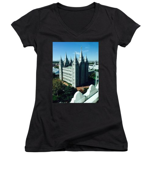 Salt Lake Temple The Church Of Jesus Christ Of Latter-day Saints The Mormons Women's V-Neck T-Shirt (Junior Cut) by Richard W Linford