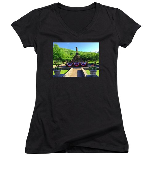Women's V-Neck T-Shirt (Junior Cut) featuring the photograph Salute To Our Hero's  by Becky Lupe
