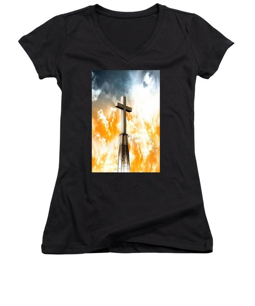 Women's V-Neck T-Shirt (Junior Cut) featuring the mixed media Salvation From Heaven by Aaron Berg