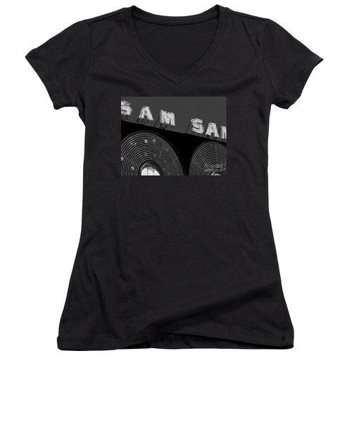 Sam The Record Man At Night Women's V-Neck T-Shirt (Junior Cut) by Nina Silver