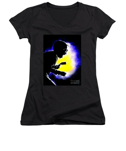 Women's V-Neck T-Shirt (Junior Cut) featuring the drawing Sammy David Jr Singing His Heart Out by Jim Fitzpatrick