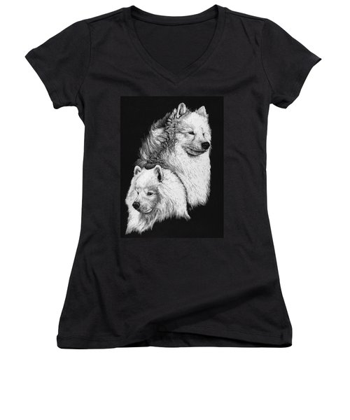 Women's V-Neck T-Shirt (Junior Cut) featuring the drawing Samoyed by Rachel Hames