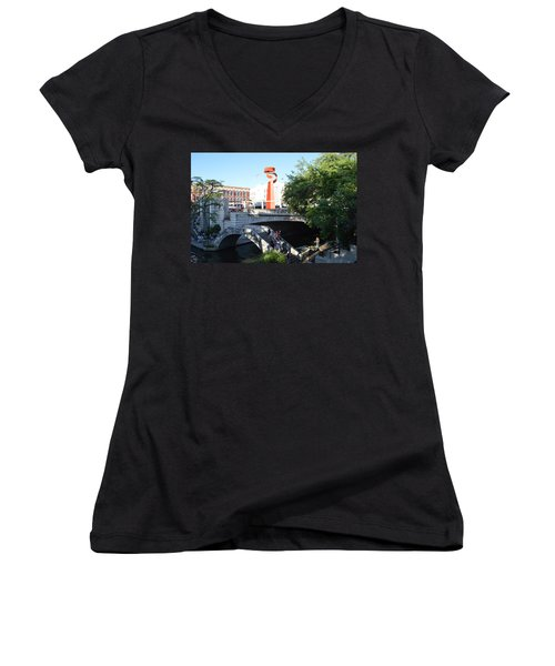 Women's V-Neck T-Shirt (Junior Cut) featuring the painting San Antonio River 01 by Shawn Marlow