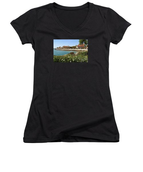 Women's V-Neck T-Shirt (Junior Cut) featuring the photograph San Diego Cute Place by Jasna Gopic