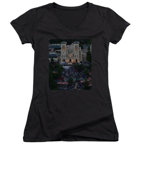 San Fernando Cathedral 001 Women's V-Neck (Athletic Fit)