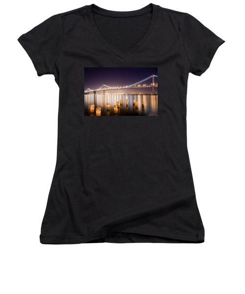 San Francisco Bay Bridge Women's V-Neck T-Shirt