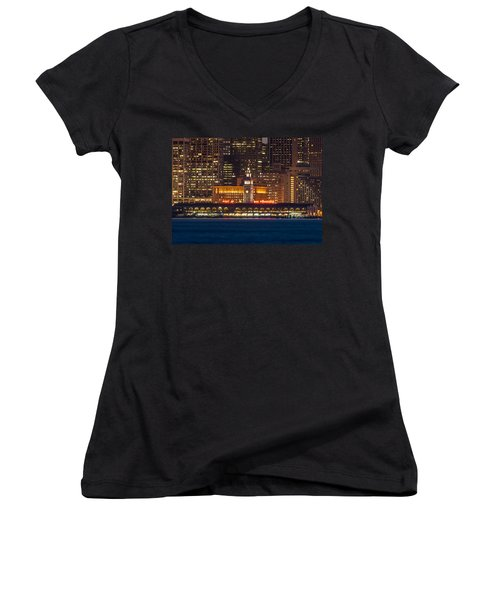 San Francisco Ferry Building At Night.  Women's V-Neck T-Shirt