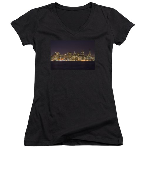 San Francisco Nighttime Skyline 1 Women's V-Neck (Athletic Fit)