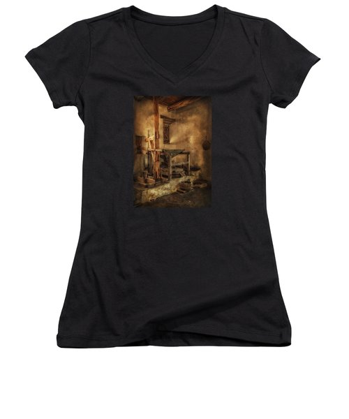 Women's V-Neck T-Shirt (Junior Cut) featuring the photograph San Jose Mission Mill by Priscilla Burgers