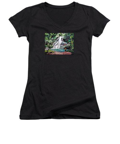 San Sebastian Waterfall Women's V-Neck T-Shirt (Junior Cut) by Luis F Rodriguez