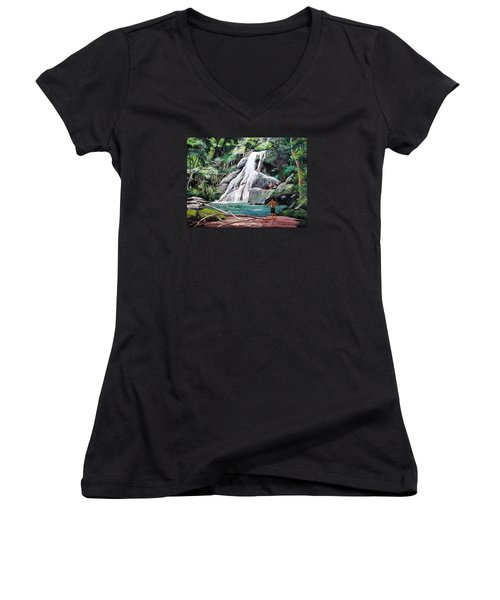 San Sebastian Waterfall Women's V-Neck (Athletic Fit)