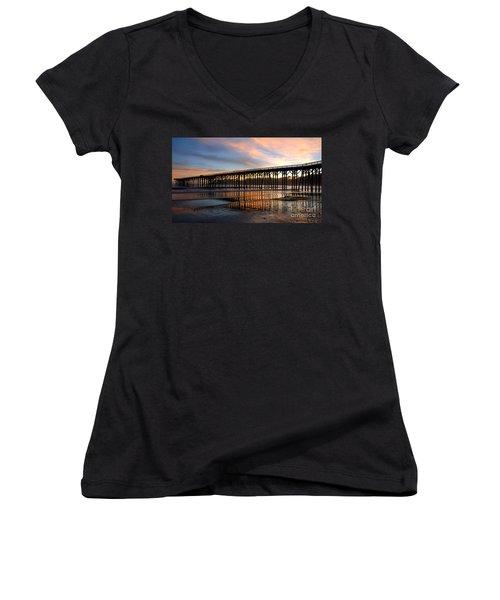 San Simeon Pier Women's V-Neck T-Shirt (Junior Cut) by Vivian Christopher