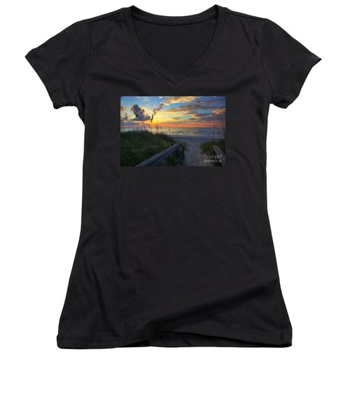 Sand Dunes On The Seashore At Sunrise - Carolina Beach Nc Women's V-Neck (Athletic Fit)