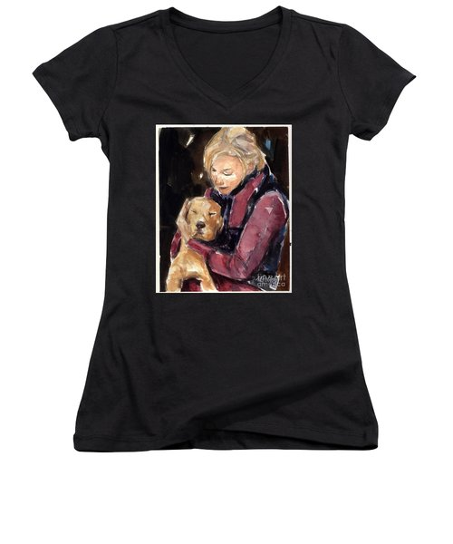 Women's V-Neck T-Shirt (Junior Cut) featuring the painting Sandy Grace And Me by Molly Poole