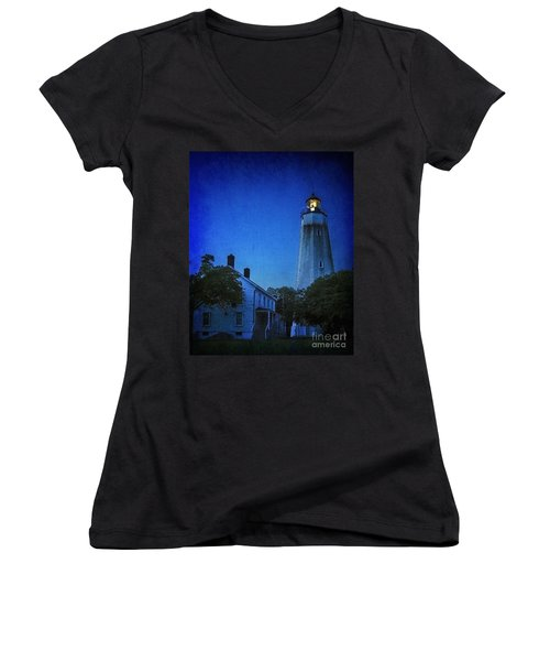 Women's V-Neck T-Shirt (Junior Cut) featuring the photograph Sandy Hook Lighthouse At Twilight by Debra Fedchin
