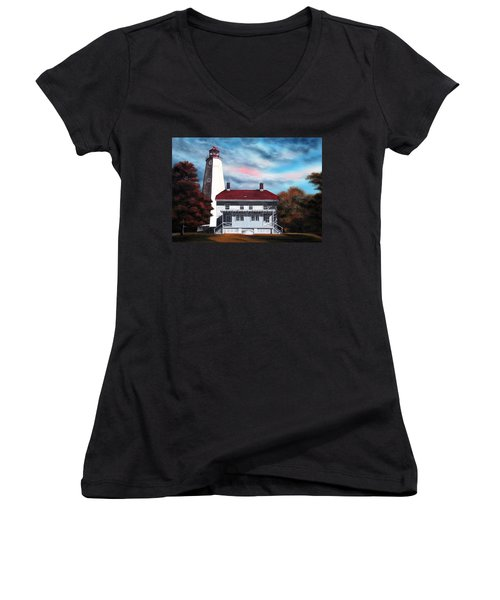 Sandy Hook Lighthouse Women's V-Neck (Athletic Fit)