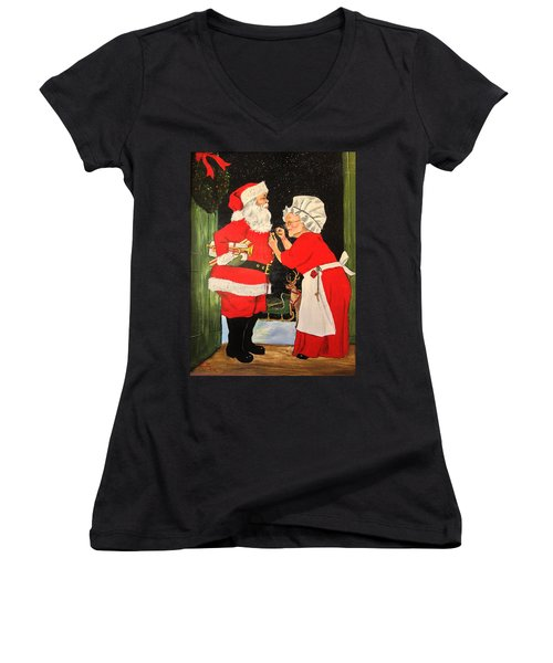 Santa And Mrs Women's V-Neck T-Shirt (Junior Cut) by Alan Lakin