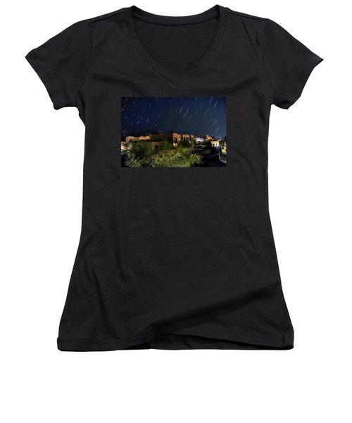 Women's V-Neck T-Shirt (Junior Cut) featuring the photograph Santa Catalina Mountain Startrails by Dan McManus