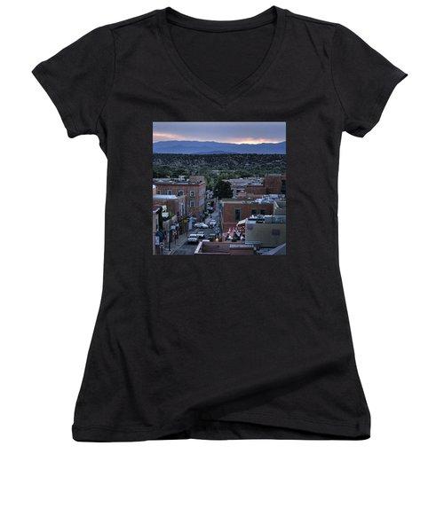 Women's V-Neck T-Shirt (Junior Cut) featuring the photograph Santa Fe Evening Rooftops by John Hansen