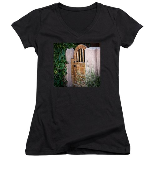 Santa Fe Gate Women's V-Neck T-Shirt (Junior Cut) by Patrice Zinck