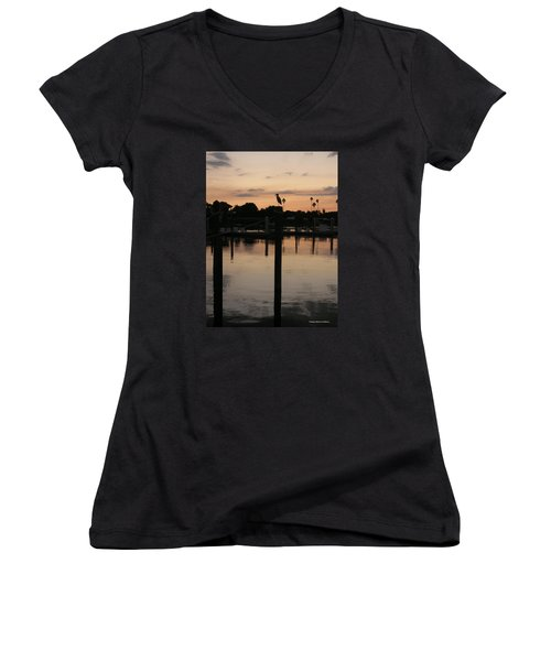 Sarasota Sunset Women's V-Neck T-Shirt (Junior Cut) by Emmy Marie Vickers