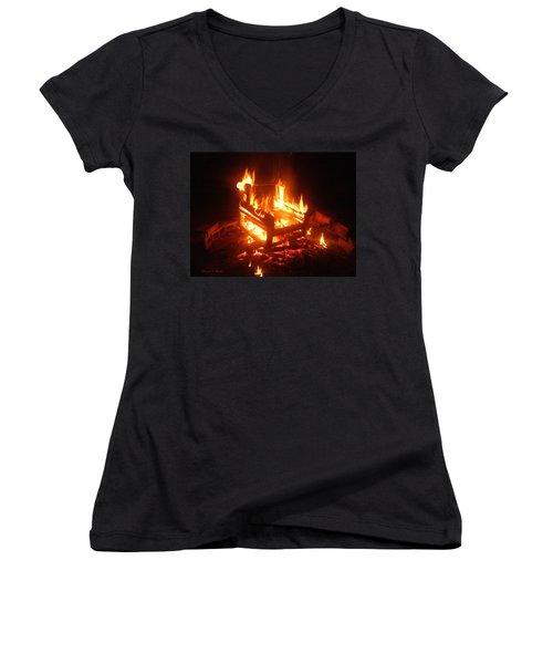 Women's V-Neck T-Shirt (Junior Cut) featuring the photograph Satan's Arm Chair by Shana Rowe Jackson