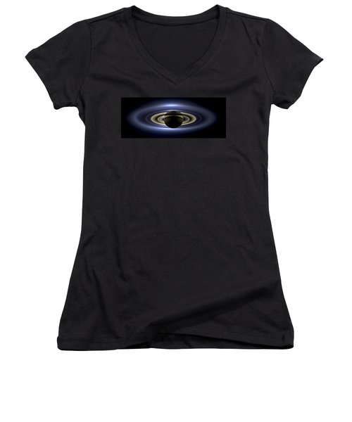 Saturn Mosaic With Earth Women's V-Neck