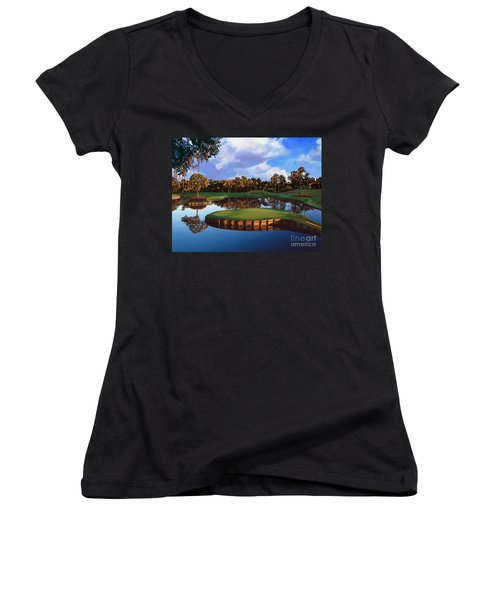 Sawgrass 17th Hole Women's V-Neck T-Shirt (Junior Cut) by Tim Gilliland
