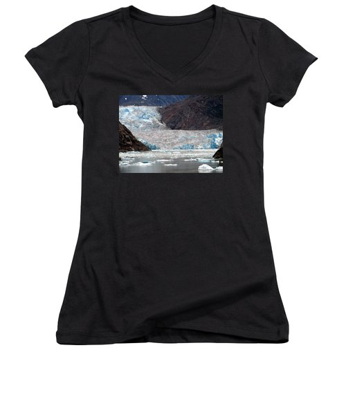 Women's V-Neck T-Shirt (Junior Cut) featuring the photograph Sawyer Glacier by Jennifer Wheatley Wolf