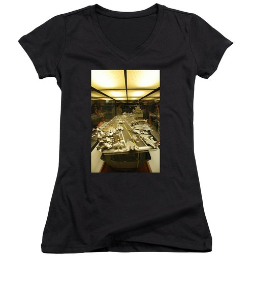 Scale Model Aircraft Carrier Women's V-Neck (Athletic Fit)