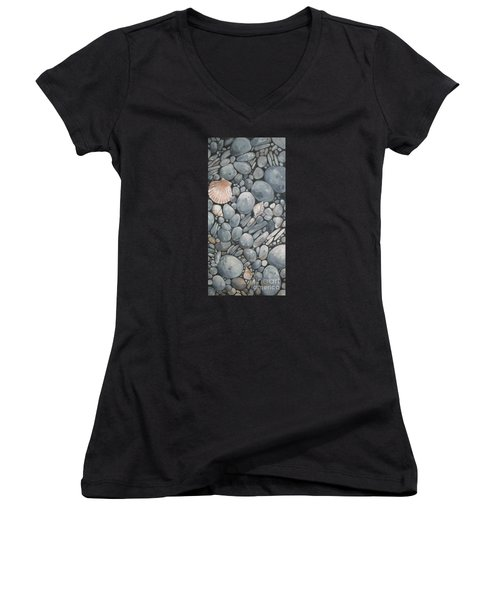 Scallop Shell And Black Stones Women's V-Neck (Athletic Fit)