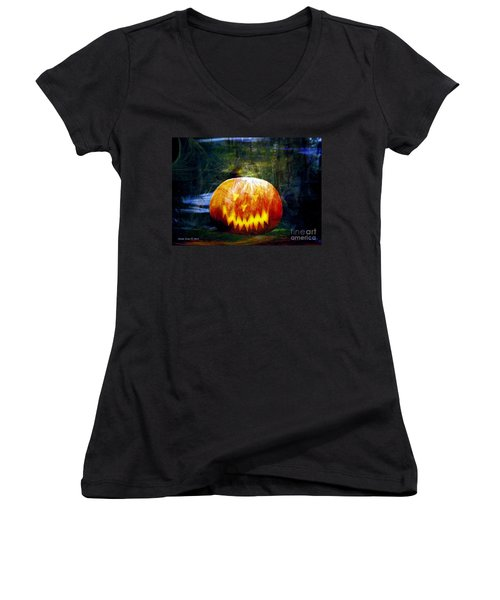 Scary Pumpkin Halloween Art Women's V-Neck T-Shirt (Junior Cut) by Annie Zeno