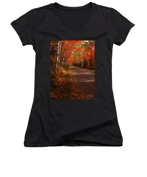 Scenic Maple Drive Women's V-Neck T-Shirt (Junior Cut) by James Peterson