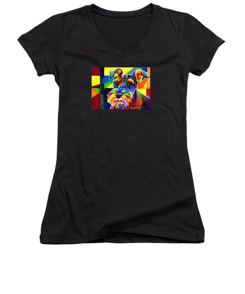 Schnauzer Women's V-Neck (Athletic Fit)