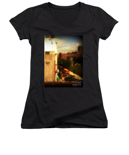 Women's V-Neck T-Shirt (Junior Cut) featuring the photograph School Bus - New York City Street Scene by Miriam Danar