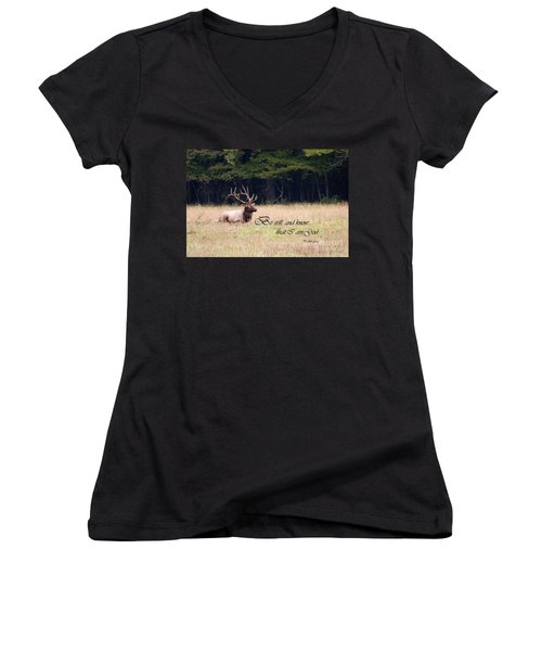 Scripture Photo With Elk Sitting Women's V-Neck (Athletic Fit)
