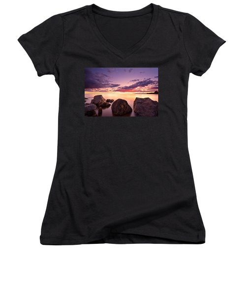Sea At Sunset The Sky Is In Beautiful Dramatic Color Women's V-Neck