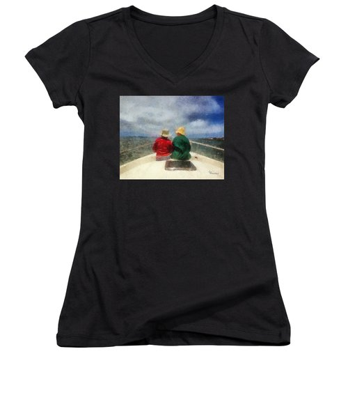 Women's V-Neck T-Shirt (Junior Cut) featuring the painting Sea Breeze 4 On The Bay by Linda Weinstock