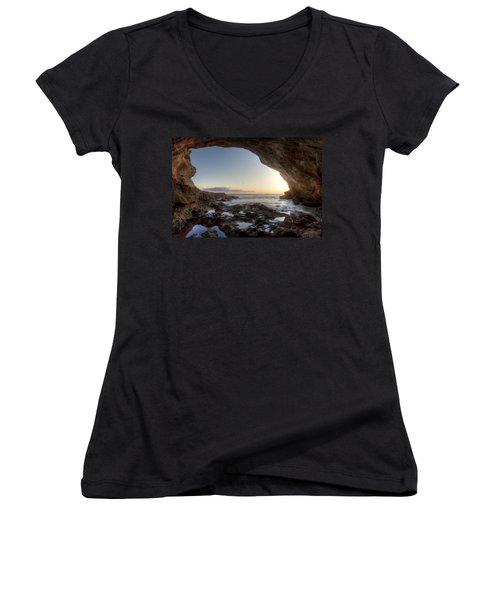 Sea Cave At Thousand Steps Beach Women's V-Neck