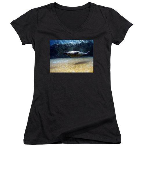 Women's V-Neck T-Shirt (Junior Cut) featuring the photograph Sea Lion Swimming Upsidedown by Verana Stark