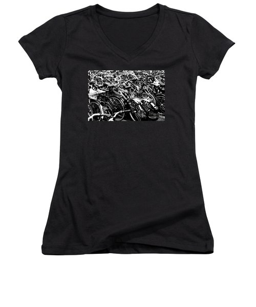 Women's V-Neck T-Shirt (Junior Cut) featuring the photograph Sea Of Bicycles 2 by Joey Agbayani