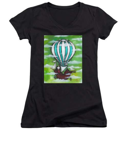 Sea Of Clouds Women's V-Neck T-Shirt (Junior Cut) by Abril Andrade Griffith