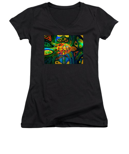 Sea Turtle - Abstract Ocean - Native Art Women's V-Neck T-Shirt