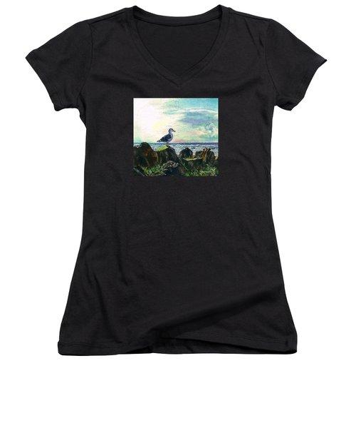 Seagull Lookout Women's V-Neck T-Shirt
