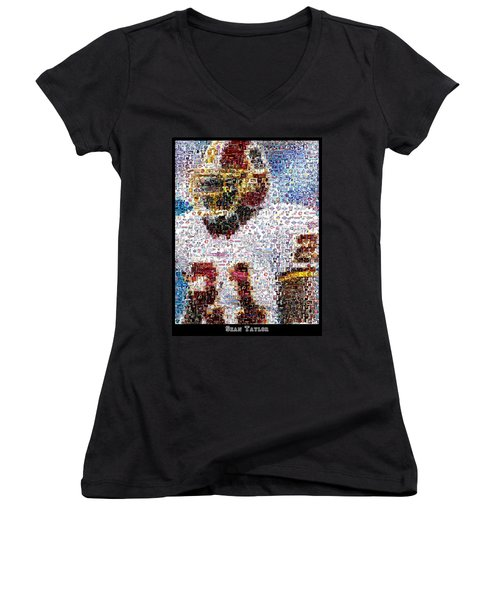 Sean Taylor Mosaic Women's V-Neck T-Shirt